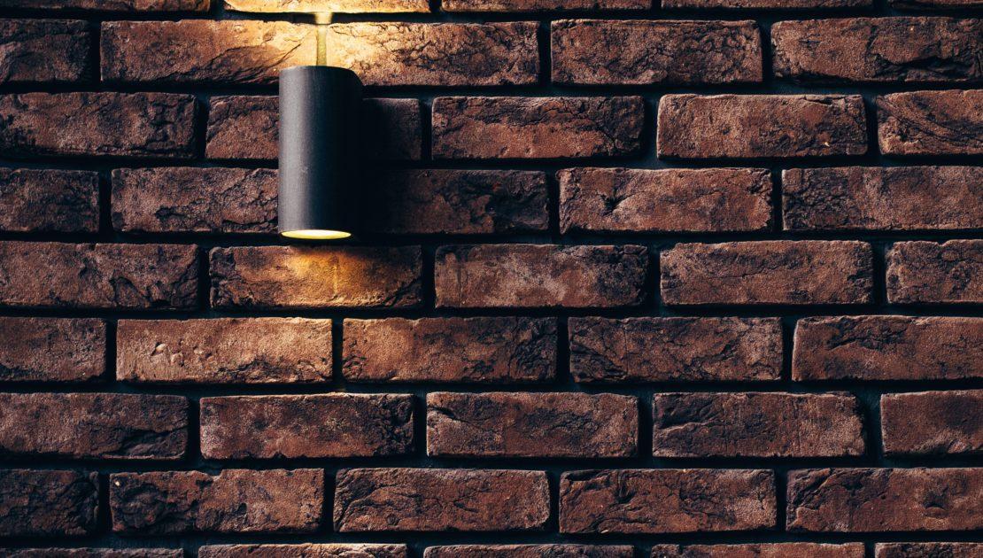 brick wall with garden light